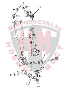 Схема передней подвески LEXUS LS400 (1989 - 1994)