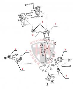 Схема передней подвески LEXUS LS600H/600HL (2007 - )